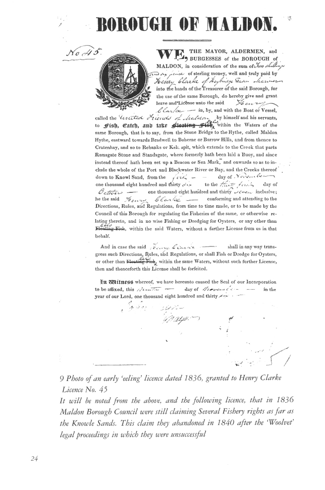 G 1836 eel licence Henry Clarke